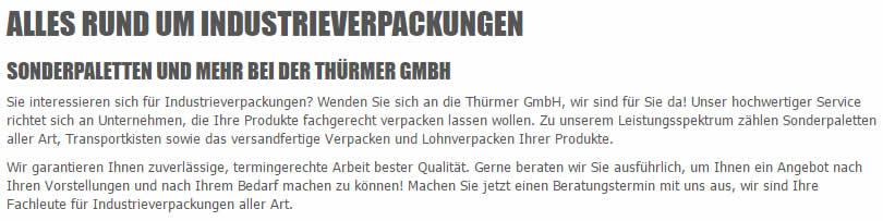 Industrieverpackungen Bieberehren - Thuermer-gmbh.de: Verschläge, Paletten, Sonderpaletten, Seefrachtkisten, Luftfrachtkisten, Transportkisten, Kisten, ..