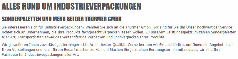 Industrieverpackungen Adelmannsfelden - Thürmer Verpackungen: Verschläge, Paletten, Sonderpaletten, Transportkisten, Kisten, Seefrachtkisten, Luftfrachtkisten, ..